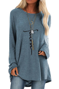 light blue Blue Faith Letters Print Knit Tunic Top