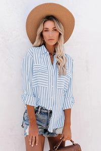 light blue Blue Cotton Striped Button Shirt