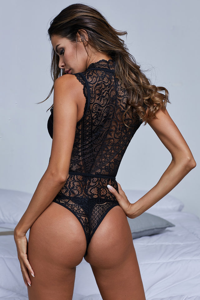 Black V Neck Hollow-out Lace Bodysuit