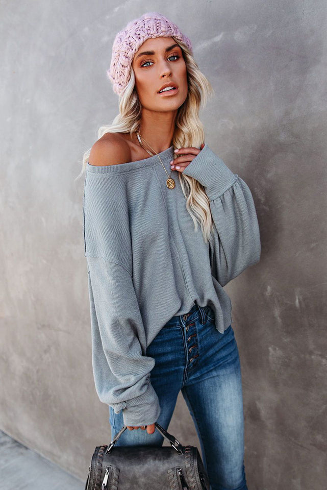 Gray Knit Balloon Sleeves Top