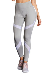 Gray High Waist Sport Yoga Pants with Colorblock