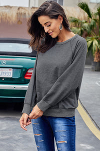 Gray French Terry Cotton Blend Pullover Sweatshirt