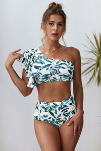 Leaves Print Ruffled Single Shoulder High Waist Bikini