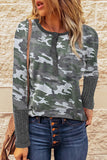 Green Camo Print Ribbed Sleeve Cuffs Top