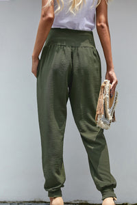 Green Pocketed Cotton Joggers