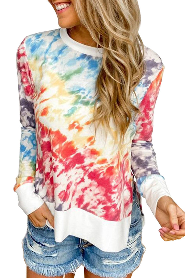 High Low Hem Tie-dye Print Top with Slits