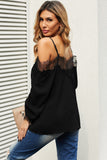 Black Lace Cold Shoulder Blouse
