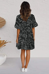 Black Leopard V Neck Ruffled Mini Dress with Buttons