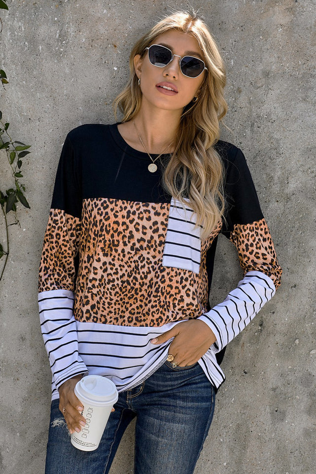 Brown Leopard Striped Patchwork Long Sleeve Top with Pocket