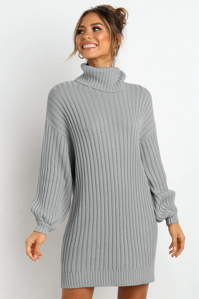 Gray Turtleneck Balloon Sleeve Sweater Dress