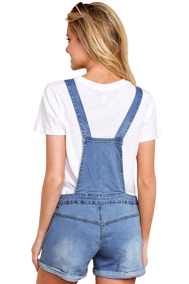 Light Blue Girly Fashion Denim Short Overalls
