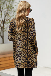 Brown Leopard Print Long Sleeve Casual Top