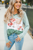 Green V-neck Striped Floral Print Sequin Splicing Top