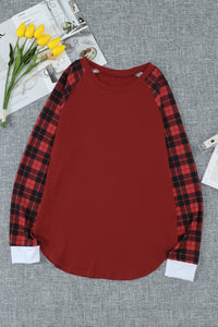 Red Plaid Long Sleeve Top