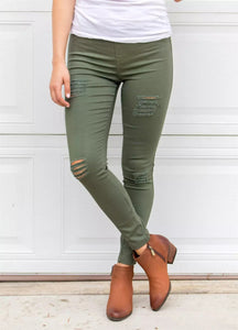 Green Distressed Front Stretch Denim Pants