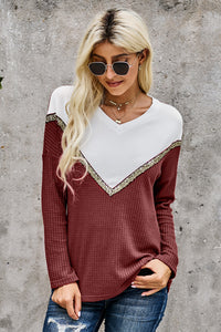 Burgundy Splicing Colorblock V Neck Pullover Sweatshirts