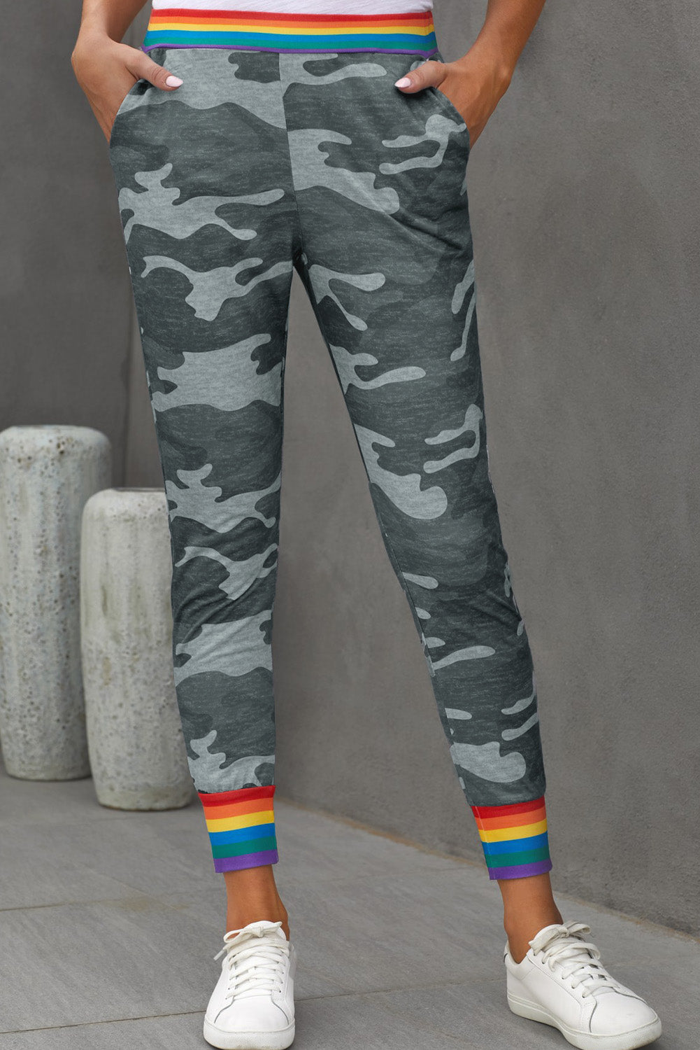 Rainbow Stripe Gray Camo Casual Pants