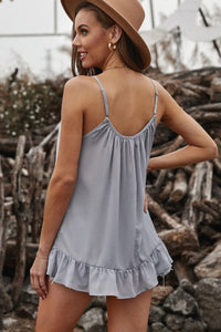 Gray Spaghetti Straps Pleated Ruffled Tank Top