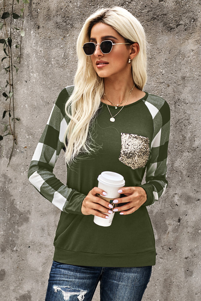 Green Plaid Splicing Sequined Pocket Long Sleeve Top