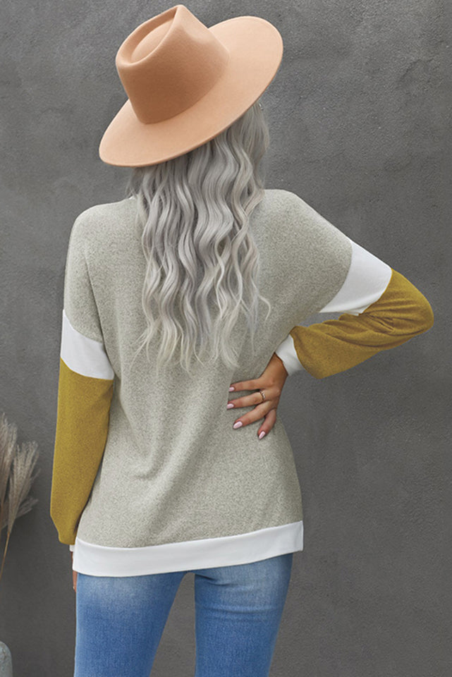 Splicing Sleeve Brown Knit Top