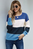 Blue Pullover Colorblock Winter Sweater
