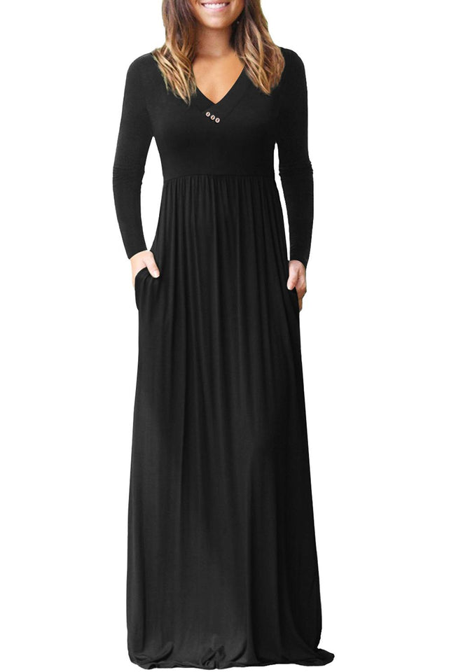 Black V Neck Pocket Style Long Jersey Dress