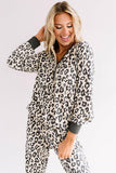 Beige Leopard Printed Button Pajamas Set