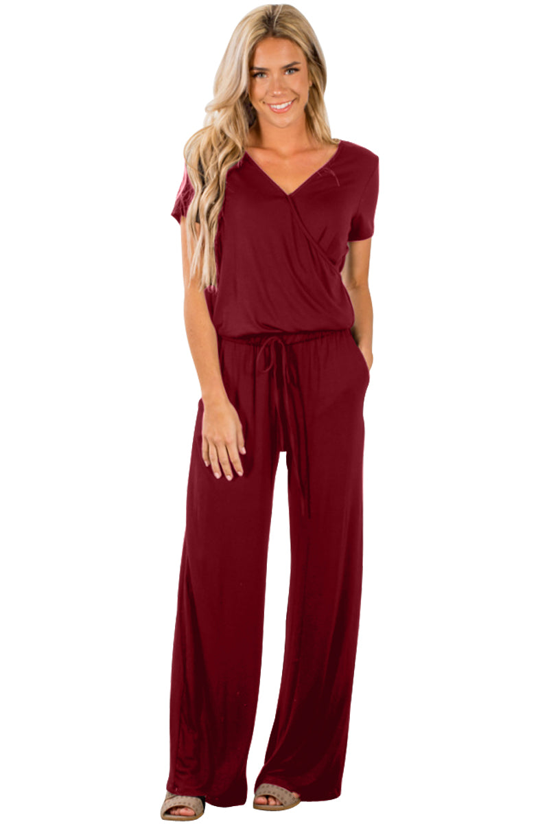 burgundy Casual Lunch Date Jumpsuit