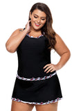 Plus Size Ruffle Trim Black Active Tank Top and Skort Swimsuit