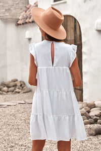 White Pocket Tiered Ruffled Mini Dress women woman ladies summer dress cool cute comfortable to wear casual look party date shopping daily wear