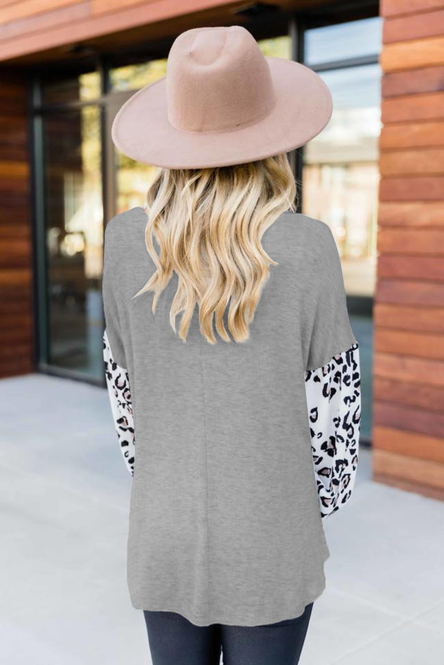 Heather Grey Leopard Print Balloon Sleeves Top