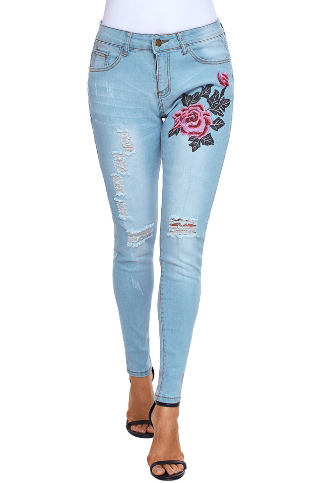 pink Embroidery Distressed Light Blue Skinny Jeans