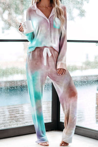 Multicolor Tie-dye Long Sleeve Shirt with Pants Pajamas Set