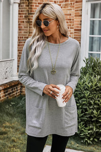 Gray Longline Pocketed Top