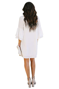 White V Neck Buttoned Bell Sleeve Shift Shirt Dress