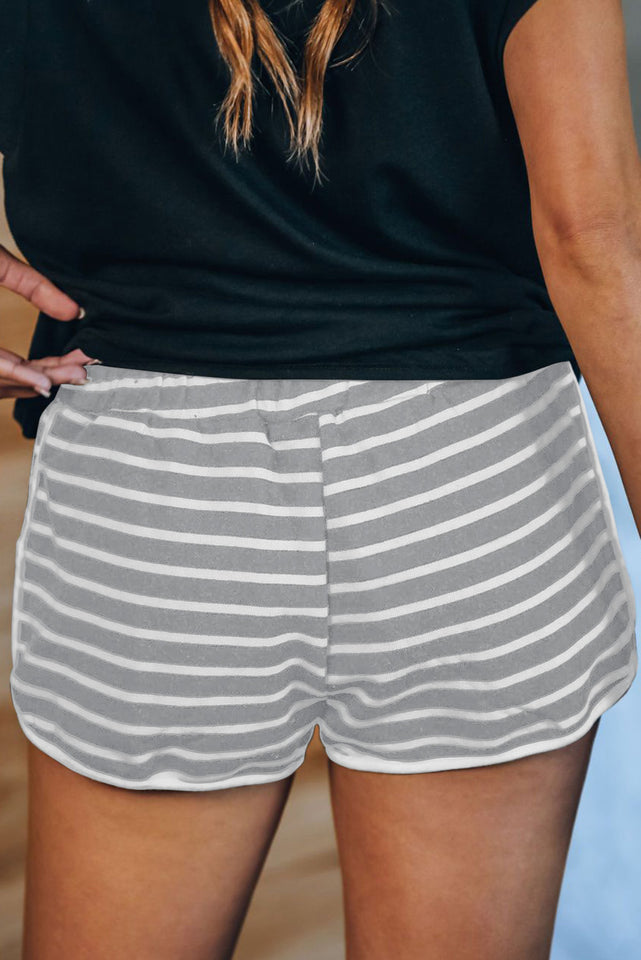 Gray Disconnect Striped Cotton Blend Pocketed Shorts