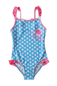 Blue White Polka Dot One Piece Swimsuit for Kids