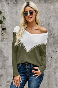 Green Splicing Colorblock V Neck Pullover Sweatshirts