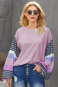 Purple Striped Colorblock Long Sleeve Knit Top