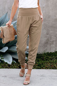 Khaki Wide Waistband Pocketed Joggers women woman girls collection cotton summer comfortable to wear daily use casual outdoor indoor party school office