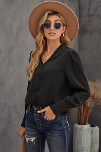 Black Frilled V Neckline Buttoned French Shirt