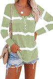 Green Tie-dye Buttoned Long Sleeve Top