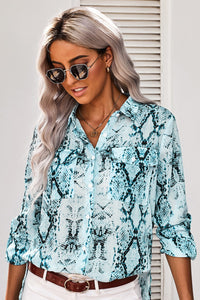 Blue Wild Snake Print Shirt with Pockets
