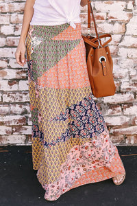 Orange Boho Print Tie-Up Waist Long Maxi Skirt