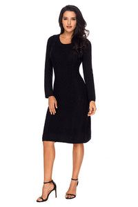 Black Womens Hand Knitted Sweater Dress