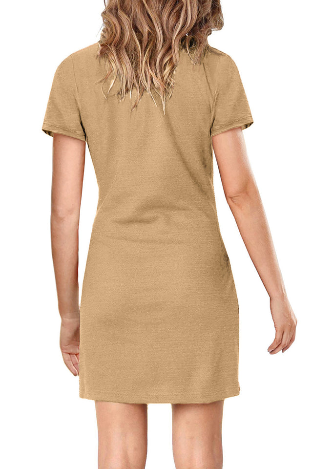 Khaki Short Sleeve Tie Waist T-Shirt Mini Dress