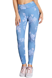 Blue High Waisted White Pattern Detail Stylish Leggings