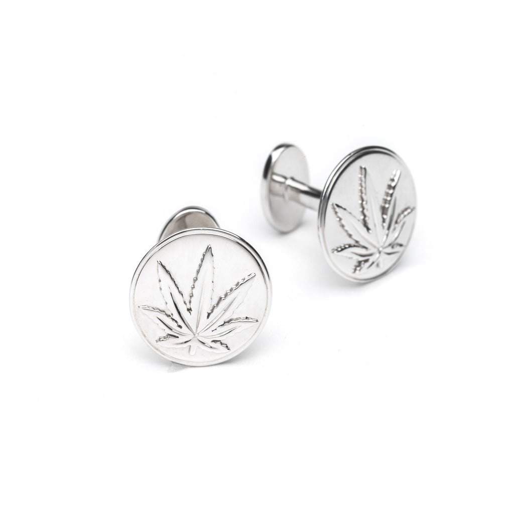 Sterling Silver Sativa Marijuana Leaf Round Cufflinks