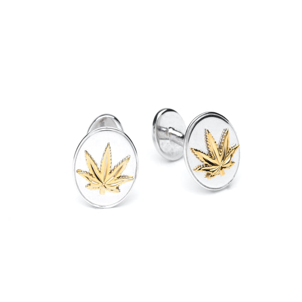 Gold and Sterling Silver Cufflinks - Oval