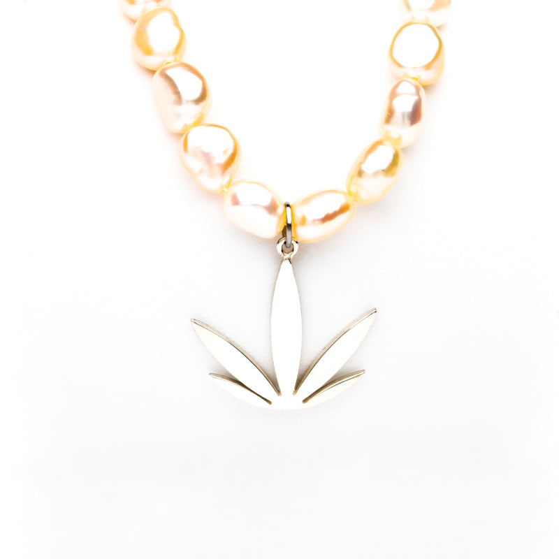 Sterling Silver Modern Leaf Pendant - Freshwater Pearl Necklace